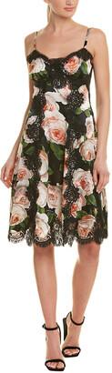 Dolce & Gabbana Floral Silk-Blend A-Line Dress