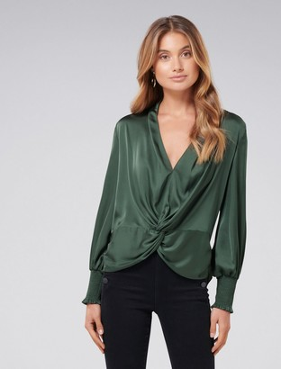 Forever New Cynthia Satin Twist Blouse - Soft Moss - 4