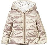 Catimini Gold Metallic Hooded Coat with Printed Lining