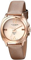 Akribos XXIV Women's AK742RG Swiss Quartz Movement Watch with Rose Gold Sunburst Effect Dial and Beige Satin over Nubuck Leather Strap