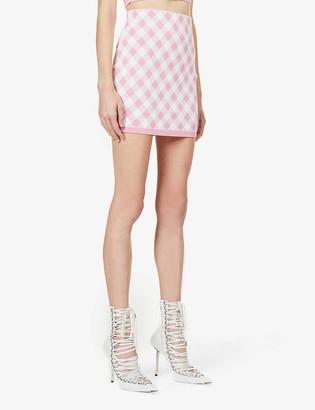 Balmain Gingham-print high-waist stretch-woven mini skirt