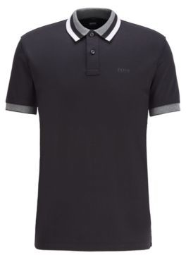 BOSS Slim-fit polo shirt in cotton with striped collar