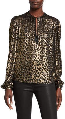 Saint Laurent Leopard-Print Long-Sleeve V-Neck Blouse