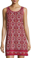 Max Studio Sleeveless Printed Shift Dress, Dark Red/Medium Red