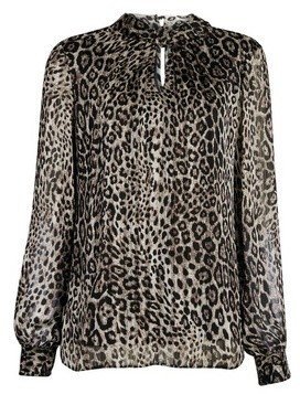 Dorothy Perkins Womens Billie & Blossom Multi Colour Leopard Print Long Sleeve Foil Top