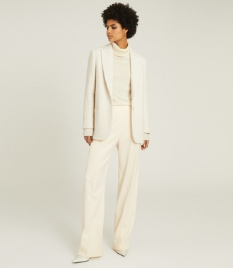 Reiss MALIA BOUCLE TEXTURED BLAZER Cream