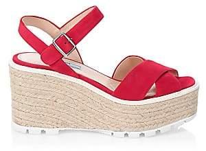 Prada Women's Raffia & Suede Wedge Sandals