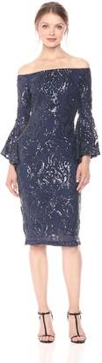 Betsy & Adam Women's Off Shoulder Sequin Dress