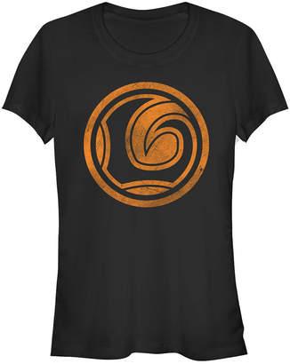 Fifth Sun Marvel Women Loki Logo Orange Tonal Cut-Out Halloween Short Sleeve Tee Shirt