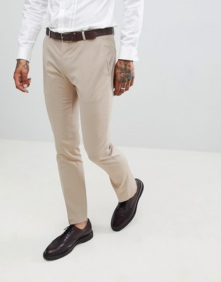 Twisted Tailor Ellroy wedding super skinny suit trousers in beige