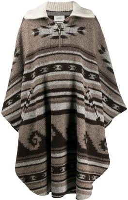 Etoile Isabel Marant Geometric Knit Long Poncho Coat