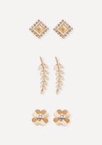 Bebe Flower & Leaf Earring Set