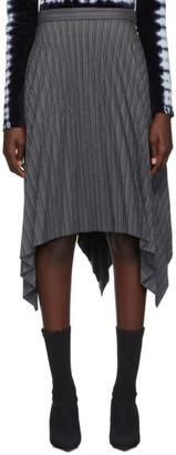 Acne Studios Grey Stripe Pleated Suiting Skirt