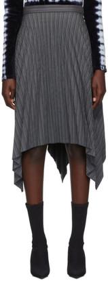 Acne Studios Grey Stripe Pleated Suiting Skirt