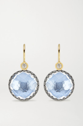 Larkspur & Hawk Olivia Button Small Rhodium-dipped Quartz And Diamond Earrings - Gold
