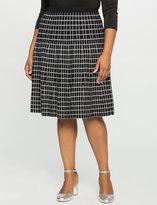ELOQUII Plus Size Flared Windowpane Skirt