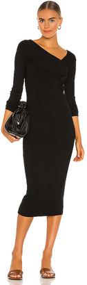 Enza Costa Viscose Rib Asymmetrical Wrap Midi Dress