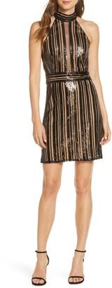 SHO Sleeveless Stripe Sequin Dress
