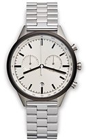 Uniform Wares C41 PVD Grey Unisex Quartz Watch with Beige Dial Chronograph Display And Silver Stainless Steel Bracelet