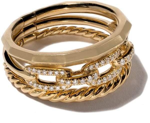 David Yurman 18kt yellow gold Stax diamond narrow ring