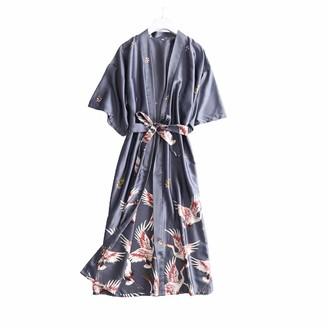 Chongmu Pyjama Sets for Womens Silk Crane Print Nightwear Sexy Satin Sleepwear Brides Long Sleeve Robes Grey