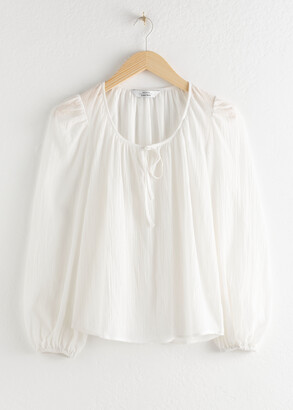 And other stories Puff Sleeve Knot Tie Blouse