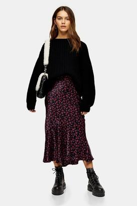 Topshop Womens Petite Black Ditsy Floral Flounce Midi Skirt - Black
