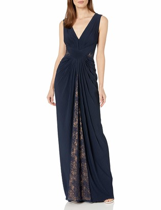 Tadashi Shoji Women's Sleeveless Pintuck Jersey Gown with lace Inserts