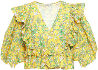 Rhode Resort Elodie Cropped Ruffled Printed Cotton-poplin Wrap Blouse