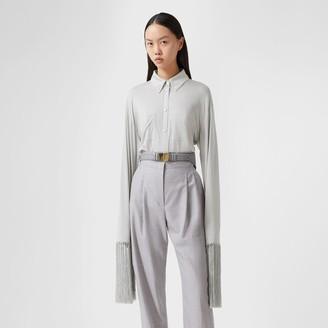 Burberry Fringed Silk Wool Jersey Shirt