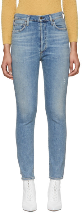 Citizens of Humanity Blue Olivia High-Rise Slim Ankle Jeans