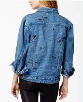 The Style Club Embroidered Faces Denim Jacket