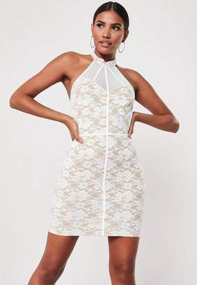 Missguided White Lace Halterneck Mesh Bodycon Mini Dress