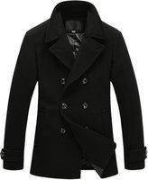 Chouyatou Men's Classic Collar Double Breasted Faux Wool Windbreaker Midi Coat