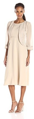 Le Bos Women's Round Neck Fit and Flare Jacket and Dress Set