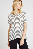 BCBGeneration Striped Flowy BF Top - White