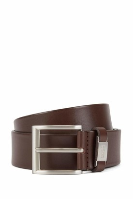 HUGO BOSS Mens Connio Vegetable-tanned leather belt with branded keeper hardware
