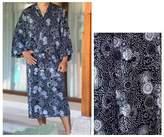 Men's Batik Patterned Robe, 'Midnight Blue'