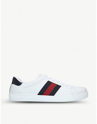 Gucci New Ace side-stripe leather trainers