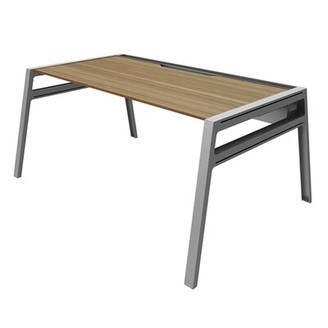 Steelcase Bivi Writing Desk Surface Size: 30 inches x 60 inches, Top Finish: Virginia Walnut, Base Finish: Platinum Metallic