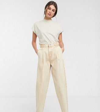 Asos Tall ASOS DESIGN Tall Tapered boyfriend jeans with D-ring waist detail with curved seams in washed lemon
