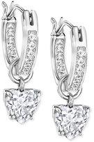 Swarovski Crystal Heart Dangle Hoop Earrings