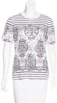Tory Burch Floral Stripe Print T-Shirt