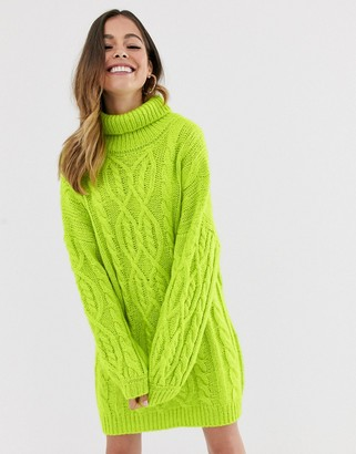 Moon River lime cable knit jumper dress-Green
