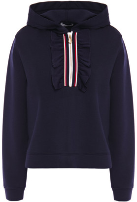 Sandro Ruffle And Grosgrain-trimmed Scuba Hoodie