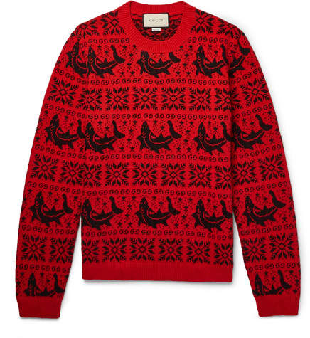Gucci Fair Isle Jacquard Wool And Alpaca-Blend Sweater