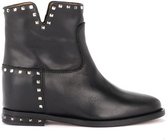 Via Roma 15 Ankle Boot In Black Leather With Studs