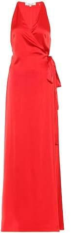 Diane von Furstenberg Satin wrap maxi dress