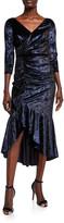 Marchesa V-Neck 3/4-Sleeve Shirred Foiled Velvet High-Low Dress
