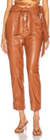 Jonathan Simkhai Vegan Leather Tie Waist Pant in Tobacco | FWRD